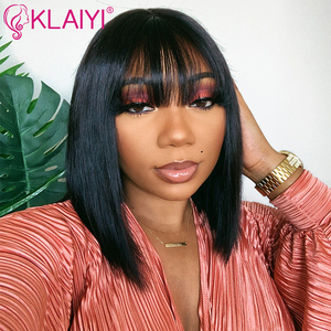 Klaiyi Hair Straight Bob Human Hair Wigs With Bang 8-14 inch Pre Plucked Brazilian Remy Hair 13*4 Lace Front Wig 150% Density(China)