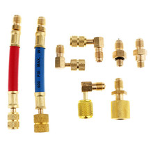 8 Pieces Car Air Conditioning Refrigeration R134A R12 Connector Adapter Hose Split Ductless Service Port