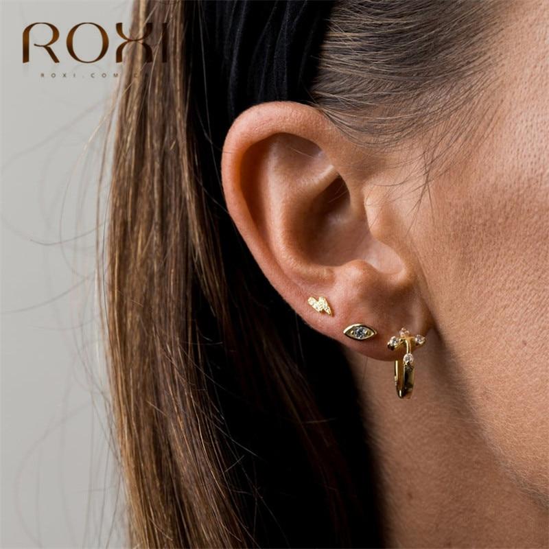 ROXI Fashion Lightning Crystal Small Stud Earrings For Women Girlfriend Gifts Oorbellen 100% 925 Sterling Silver Earring Jewelry