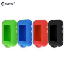 KEYYOU 실리콘 케이스 키 커버 Starline E90 E63 E91 E61 E95 E66 E60 LCD 양방향 자동차 알람 원격 케이스 키 체인 송신기