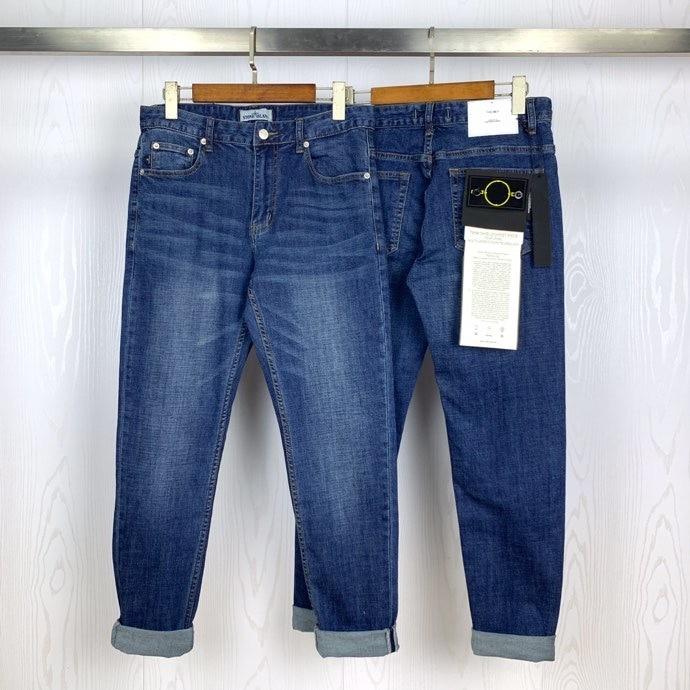 2020ss Compass Badge Patched Men Slim Fit Jeans Hiphop Steetwear Men Washed Jeans Blue Jeans Pants Trousers