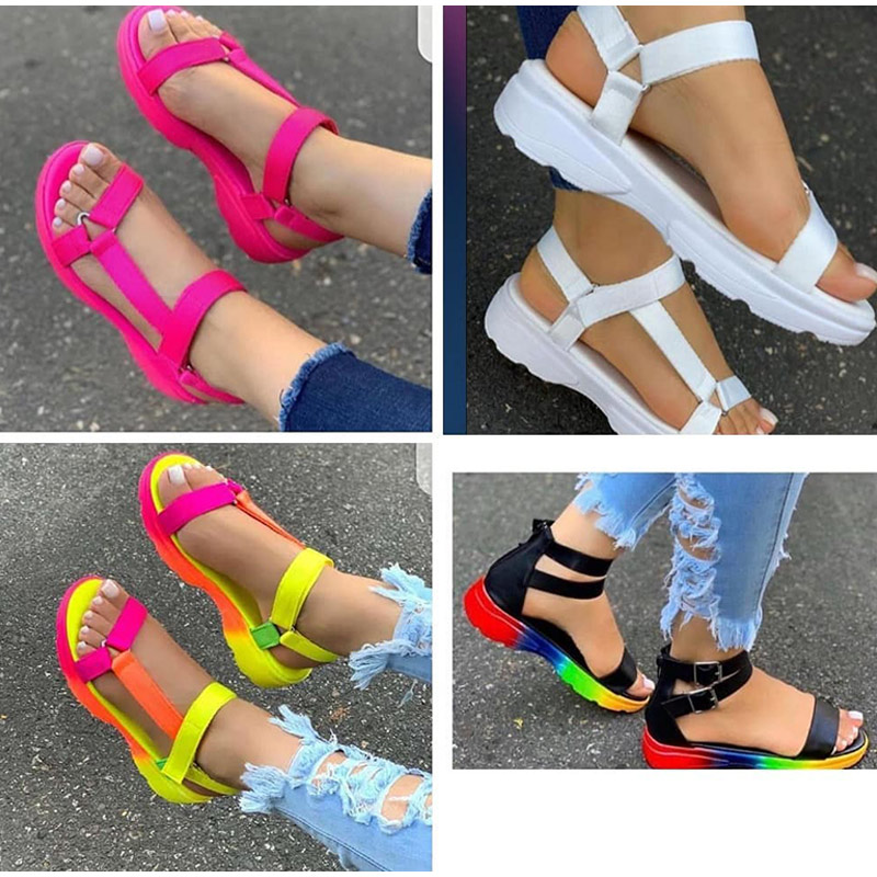 Candy Color Women Flat Platform Sandals 2020 New Summer Woman Hook Loop Non Slip Plus Size Casual Female Ladies Beach Shoes