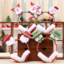Рождественская Детская зимняя теплая плюшевая повязка на голову с милыми ушками Санта-Клауса