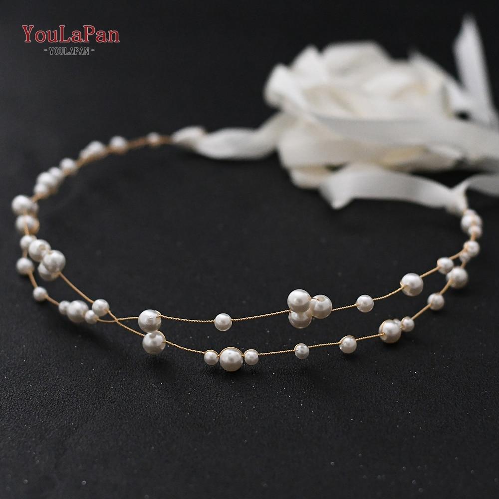 TOPQUEEN SH36 Golden Pearl Bead Belt Girls Belts Cheap Dress Belts Ivory Wedding Dress Belt for Bridesmaid Waist Metal Belt