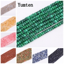 Yumten Round-brilliant-shape Malachite Beads 5mm*8mm Bead DIY Turquoise Agate Rose Quartz Jewelry Handmade Natural Accessories