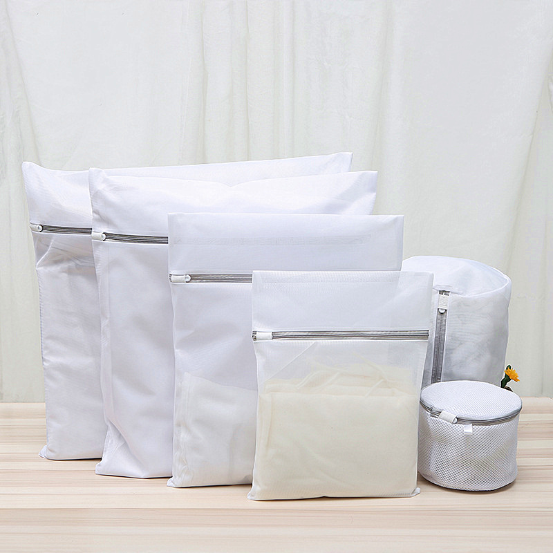 Gray Zippered Laundry Bag Coarse/Fine Mesh Net Washing Bags For Underwear Bra Clothes Washing Machine Dedicated Laundry Products