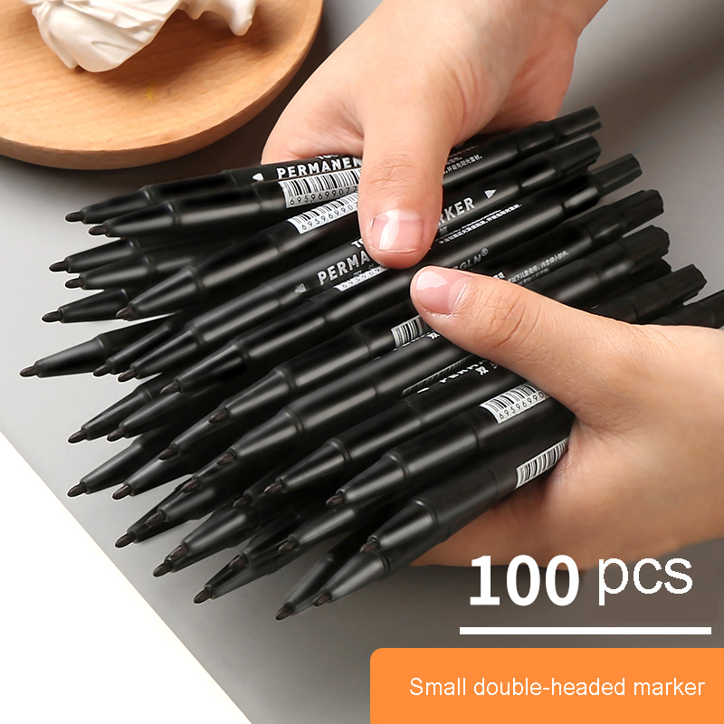 100 Black Oily Small Double Head Mark Hook Line Pen Big Head Paint Pen Marker Pen Signature Pen Art Supplies