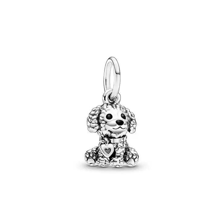 Real 925 Sterling Slver Charms Fit Pandora Bracelet Original Poodle Puppy Dog Dangle Bead Charms Jewelry