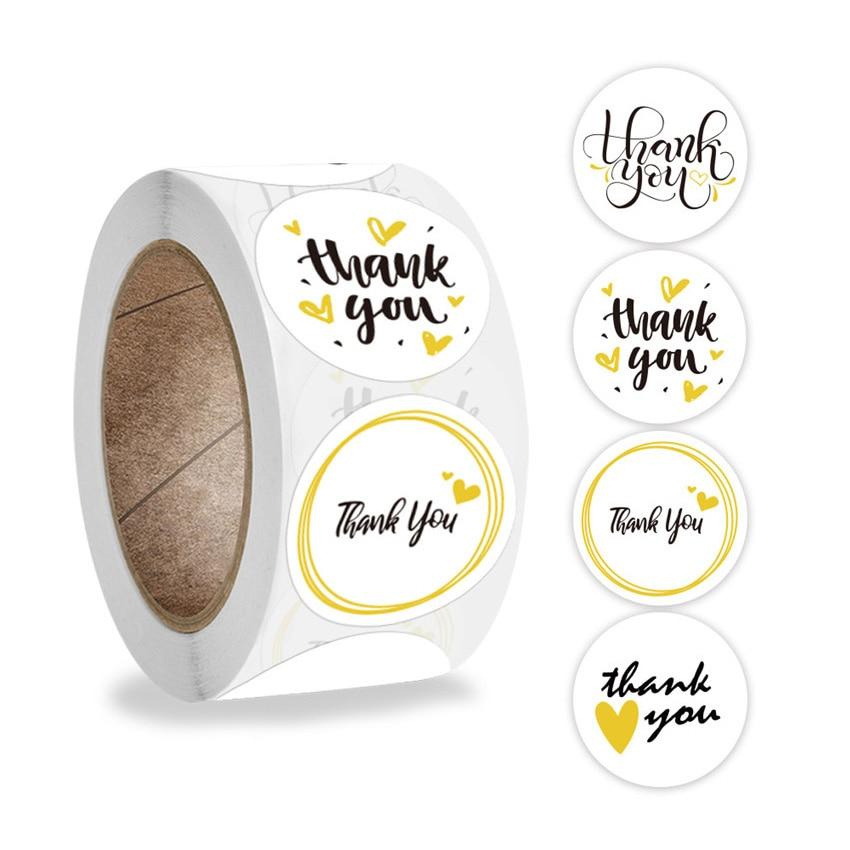 4 вида конструкций желтый Спасибо наклейки круглой формы в форме сердца этикетки для скрапбукинга для свадьбы конверта ручной работы подар...