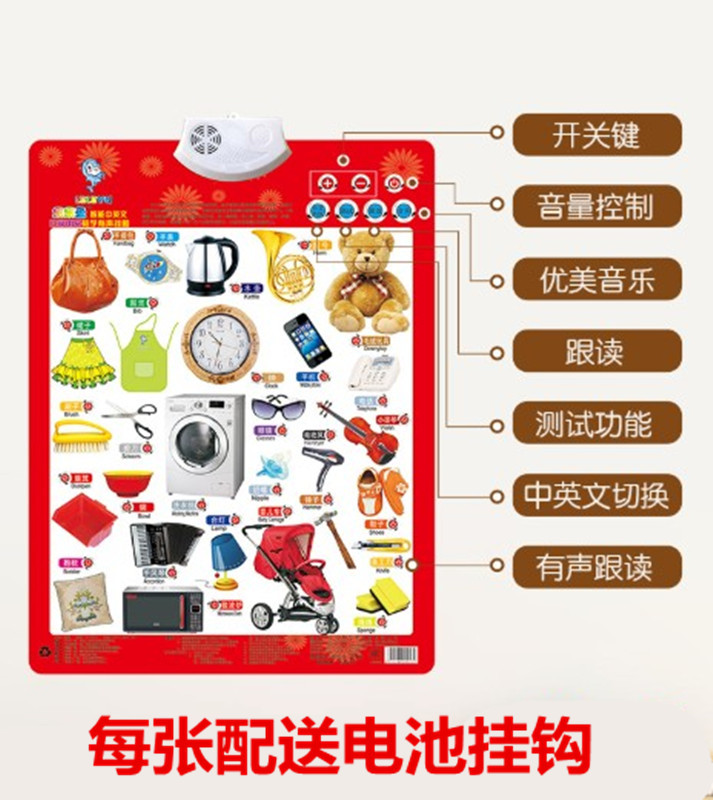 Young CHILDREN'S Audio Chart Early Education Sound Making Baby Voice ENLIGHTEN Learning Reading Pinyin Wall Stickers Cognitive C