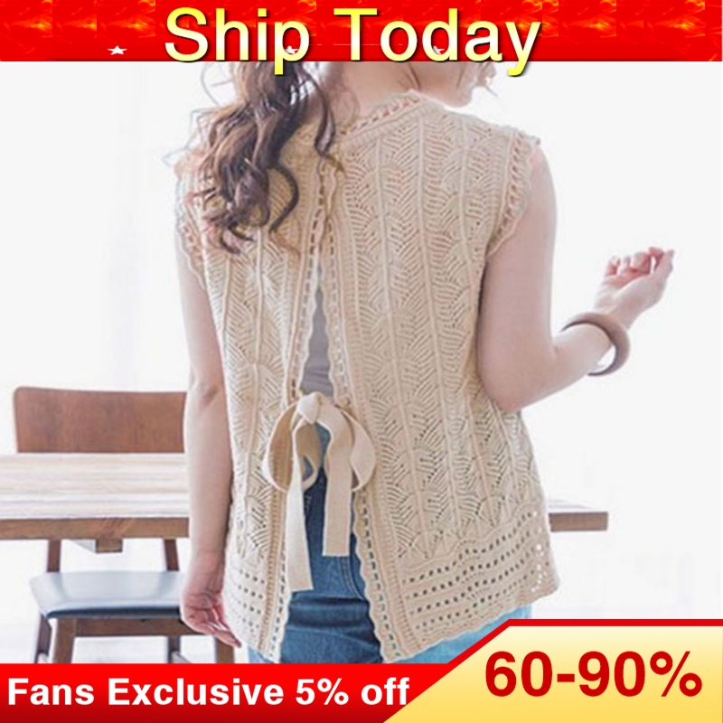 Knitted Blouse Women 2020 Summer Solid Fashion Sleeveless Pullover Female Tops Korean Sweet Causal Shirts Khaki