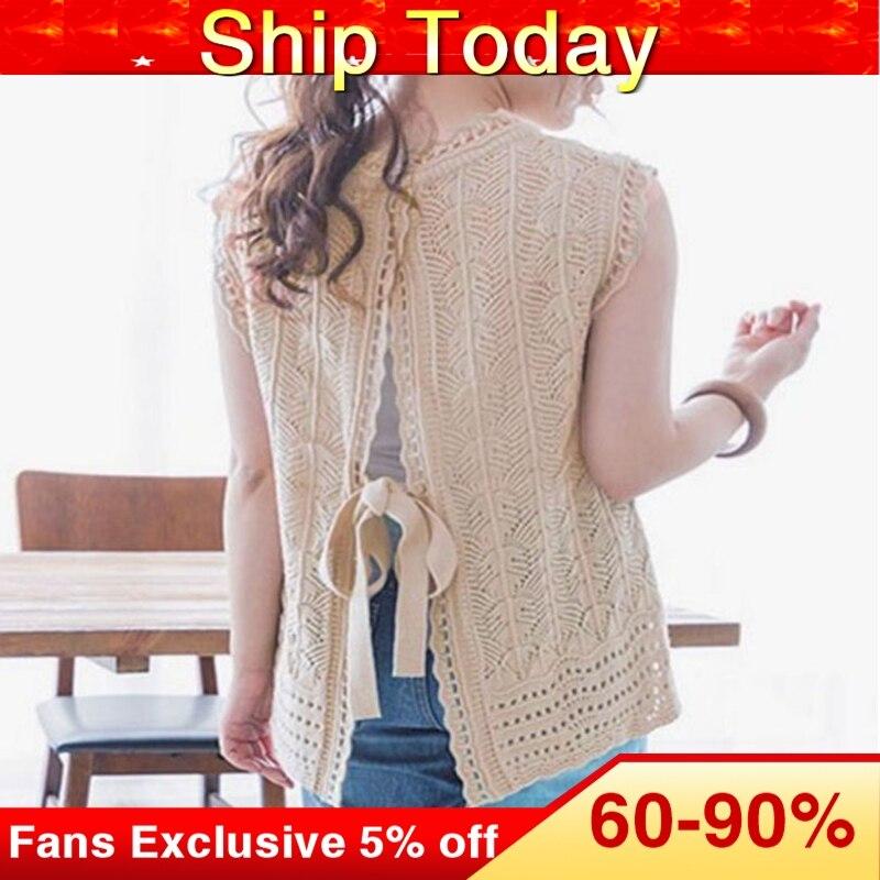 Knitted Blouse Women 2020 Summer Solid Fashion Sleeveless Pullover Female Tops Korean Sweet Causal Shirts Khaki
