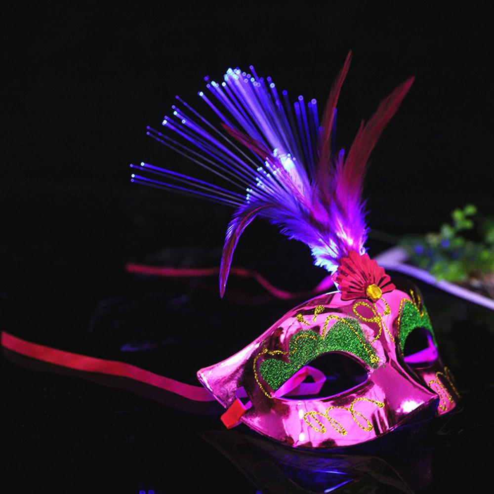 Womens Kids Masquerade Masks Venetian LED Glowing Feather Decoration for Party