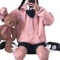 Ulzzang Preppy Stil Tasche Hoodie Cartoon Druck Frauen Nette Kleidung Harajuku Kawaii Rosa Sweatshirt Frau Anime Zip-Up Hoodies