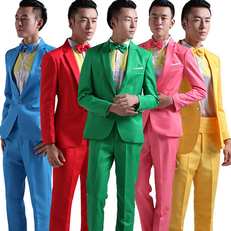 Suit Men New Long-Sleeved Men's Suits Dress Hosted Theatrical Tuxedos For Men Wedding Prom Red Yellow Blue And Green M L XL