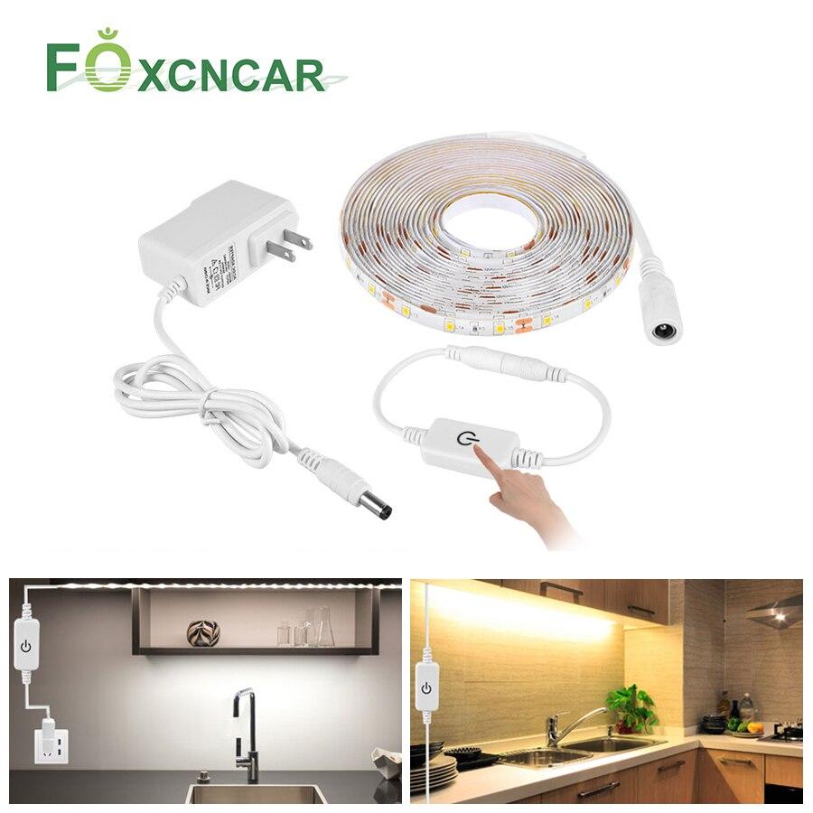 1-5 M 2835 DC 12V LED ストリップライト防水 LED リボンテープ調光可能なタッチセンサースイッチ制御 EU 、米国 2A 電源アダプタキット