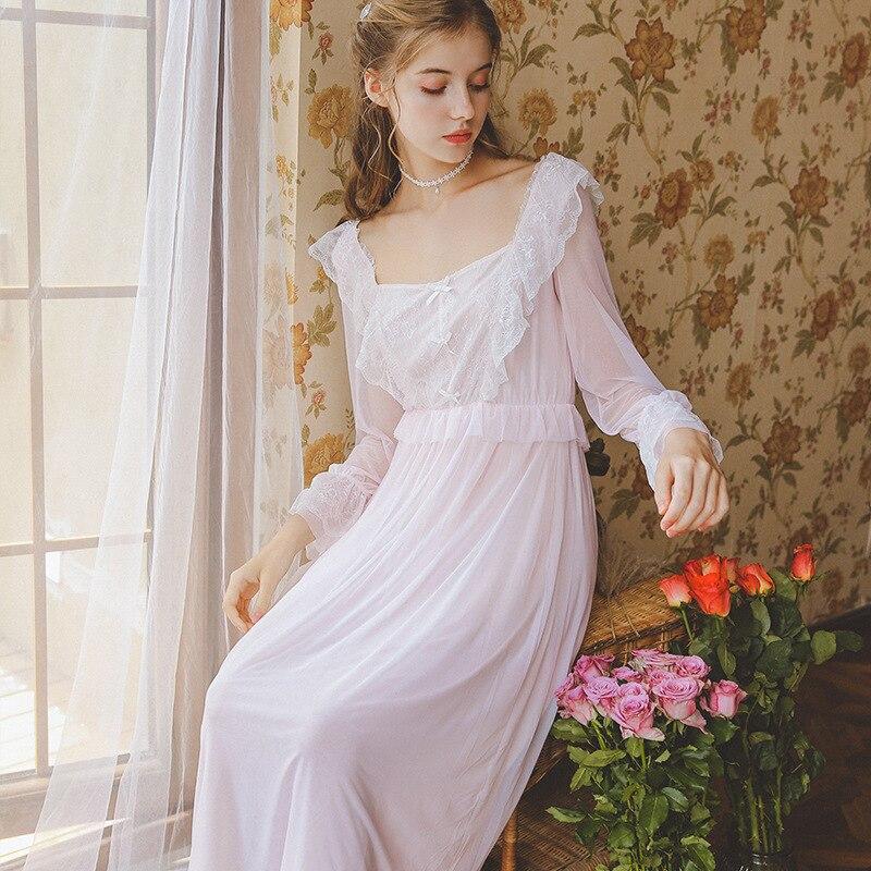 Summer Autumn Nightdress Lace Long Sleeve Nightgown Princess Woman  Long Dress Romantic Sleepwear Women
