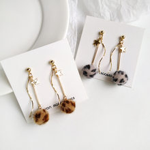 Coffee Leopard Print Hair Balls Clip Earrings Without Piercing Fashion Curve Star Earrings for Women(China)