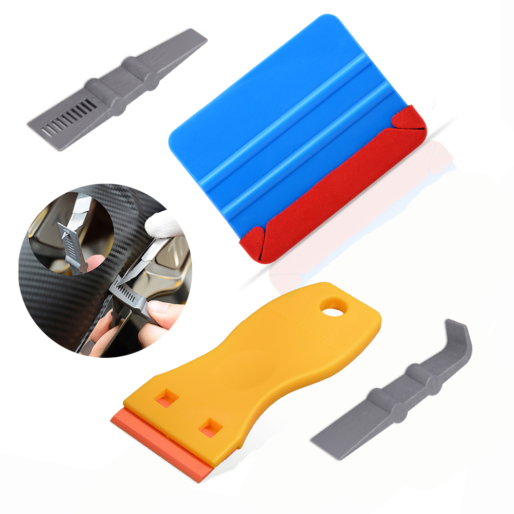 FOSHIO Vinyl Car Wrap Carbon Fiber Fabric Cloth Squeegee Scraper Car Sticker Film Razor Scraper Window Tint Kit Car Accessories