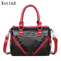 Genuine Leather Women Handbag Messenger Bags Fashion Rivet Shoulder Bag Famous Brand Women Handbags 2019 Ladies Crossbody Bags