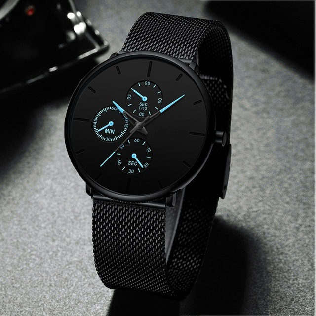 Fashion Mens Luxury Business Black Watches Stainless Steel Mesh Belt Quartz Men Wrist Watch Casual Classic Male Watch