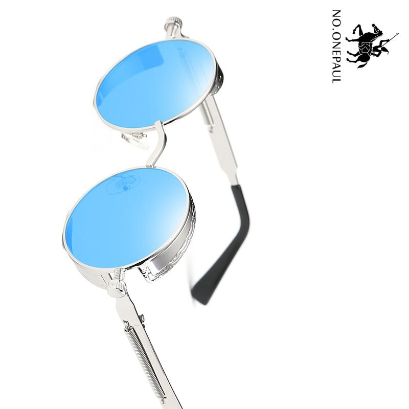 NO.ONEPAUL Round Glasses Brand Design Vintage Sunglasses High Quality UV400 Eyewear Metal Steampunk Sunglasses Men Women Fashion