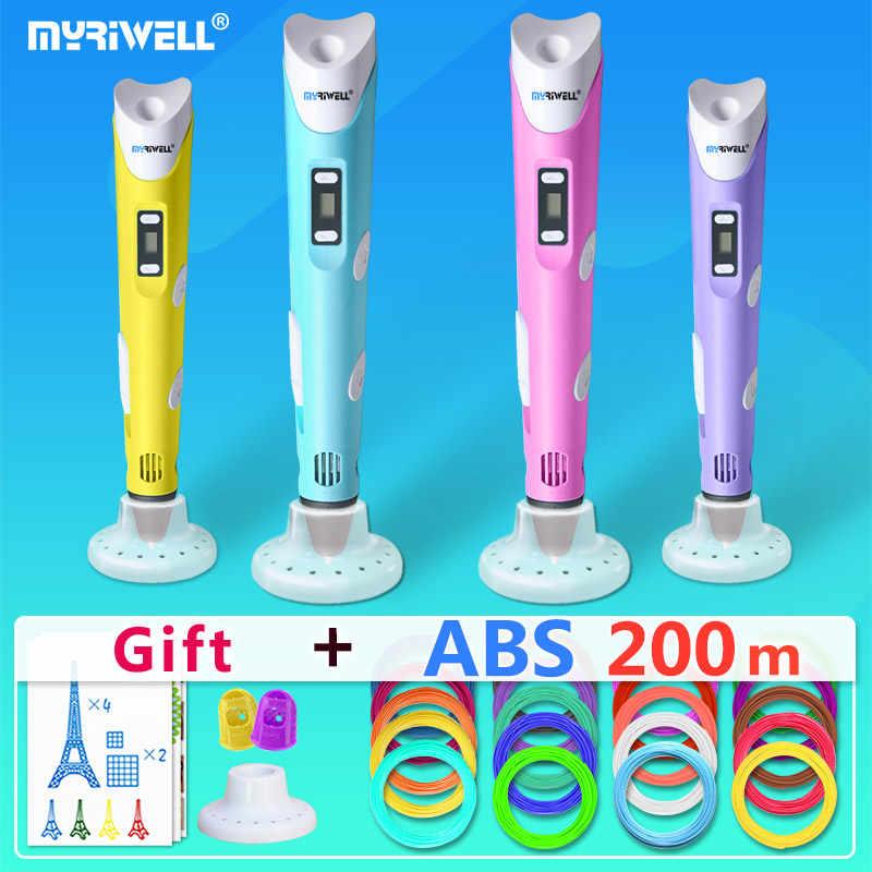 Myriwell 3D ปากกา + 20*10 m ABS Filament,3 D ปากกา 3D รุ่น, creative3d ปากกา doodler,ของขวัญที่ดีที่สุดสำหรับเด็ก,3D ภาพวาด pen-3d ปากกา