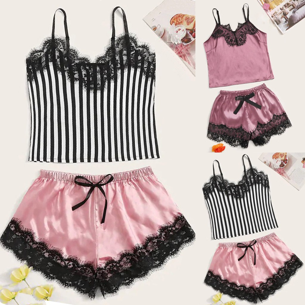 Sexy Lace Satin Homewear Set Women Lingerie Sleepwear Wireless Bra Camisole Homesuit Bowknot Shorts Set Nightgowns Robe Set 2019