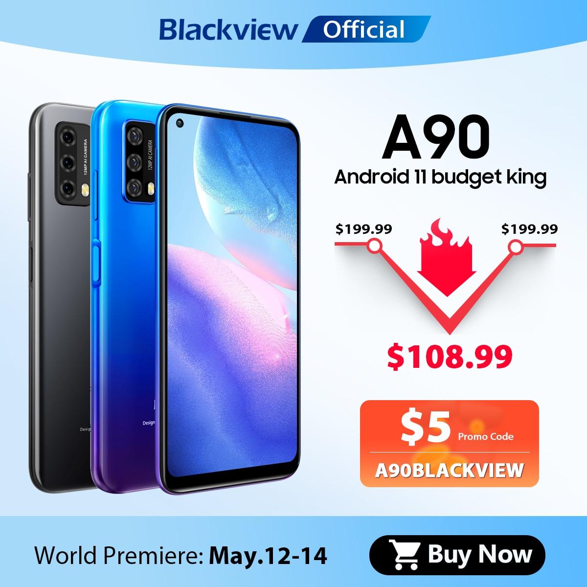 Blackview A90 смартфон Helio P60 Octa Core 12MP HDR Камера мобильный телефон 4 Гб + 64 Гб 4280 мАч Android 11 Телефон 4 аппарат не привязан к оператору сотовой связи Чехо...