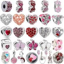 Sweet Pink love Enamel Heart Beads for Women Jewelry Fit Original Pandora Charms Bracelet Pendant Pulseiras Girl Sweetheart Gift