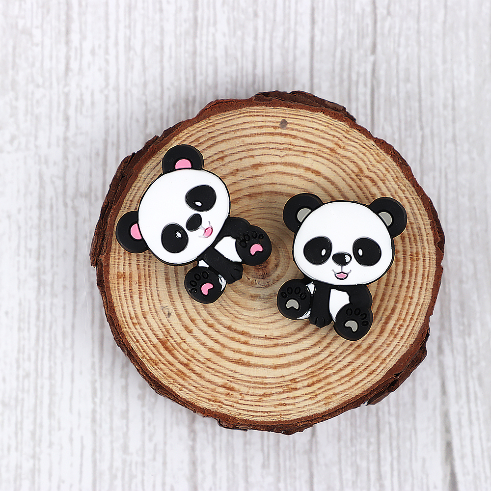 10pc Mini Panda Silicone Beads Carton Rodent Baby Teething Bead Pacifier Clips Accessories Silicone Teether