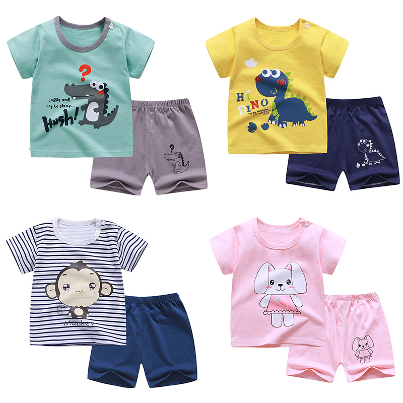 2020 Summer Children Suits For Boys And Girls Short Sleeve Sets For Baby Boys Two Clothes T-shirt + Shorts Sets Toddler Clothing