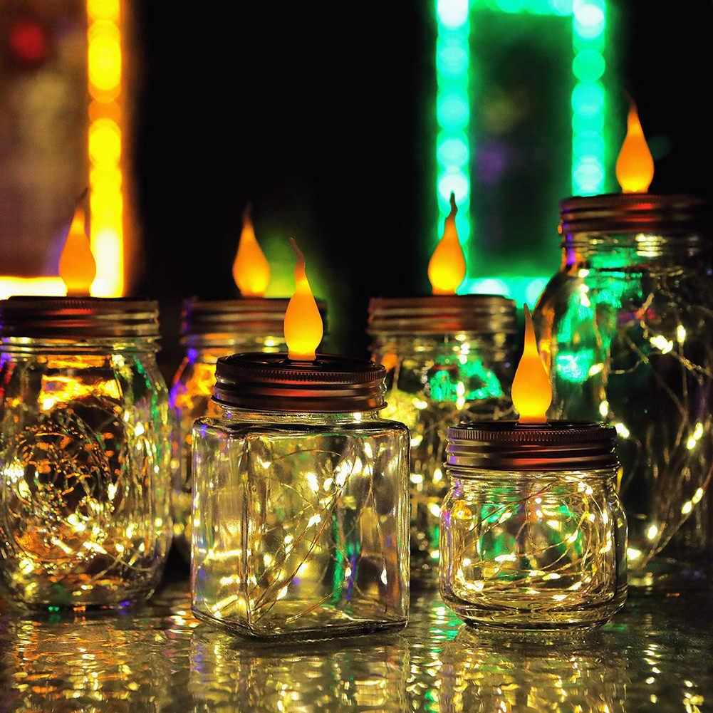 Вечерние лампы с огненной струной Жестяная Банка лампы сказочная лампа-Светлячок светодиодный садовый домашний Открытый водонепроницаемый Солнечный Путь украшения