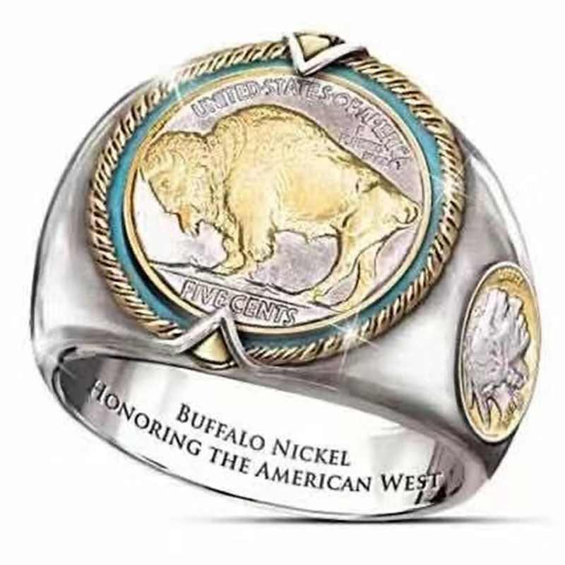 Anillo de níquel de búfalo Hip Hop anillos de oro de dos tonos para hombres anillo de joyería de búfalo Citizen tamaño 6 12