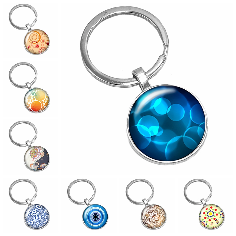 2019 Hot Sale of The Latest Corrugated Kaleidoscope Pattern Series Glass Cabochon Keychain Fashion Jewelry Gift