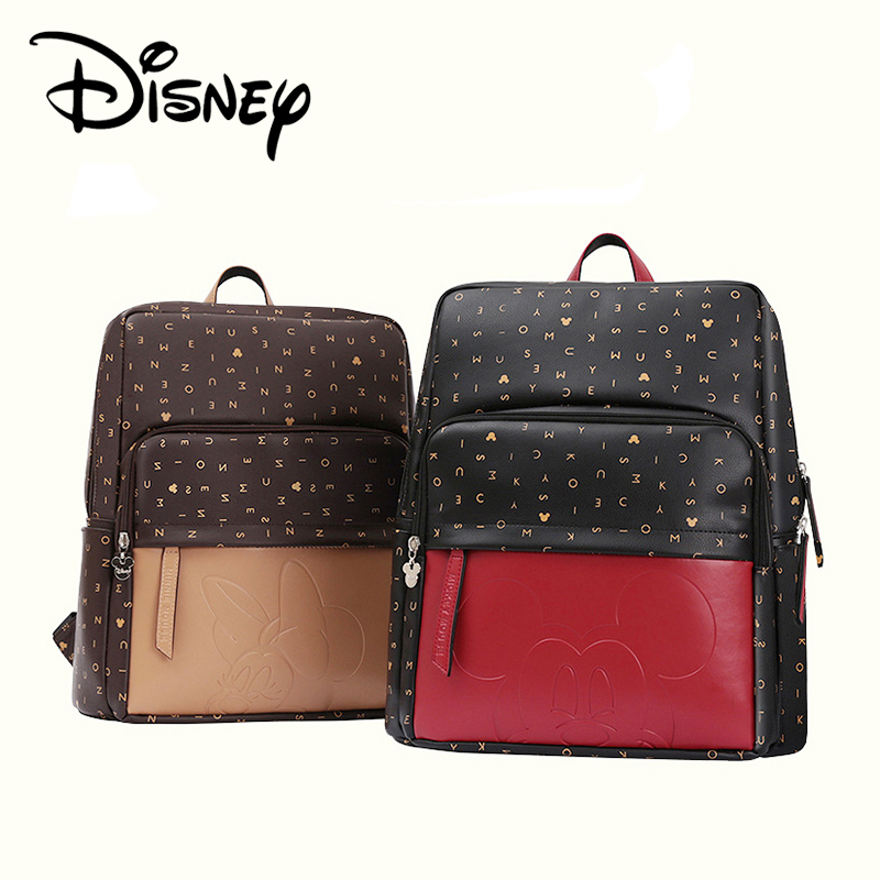 Disney Minnie Mickey Letter Luxury Diaper Bag Bottle Feeding Travel Nappy Bag Backpack Baby Bags For Mom Storage Bag Waterproof