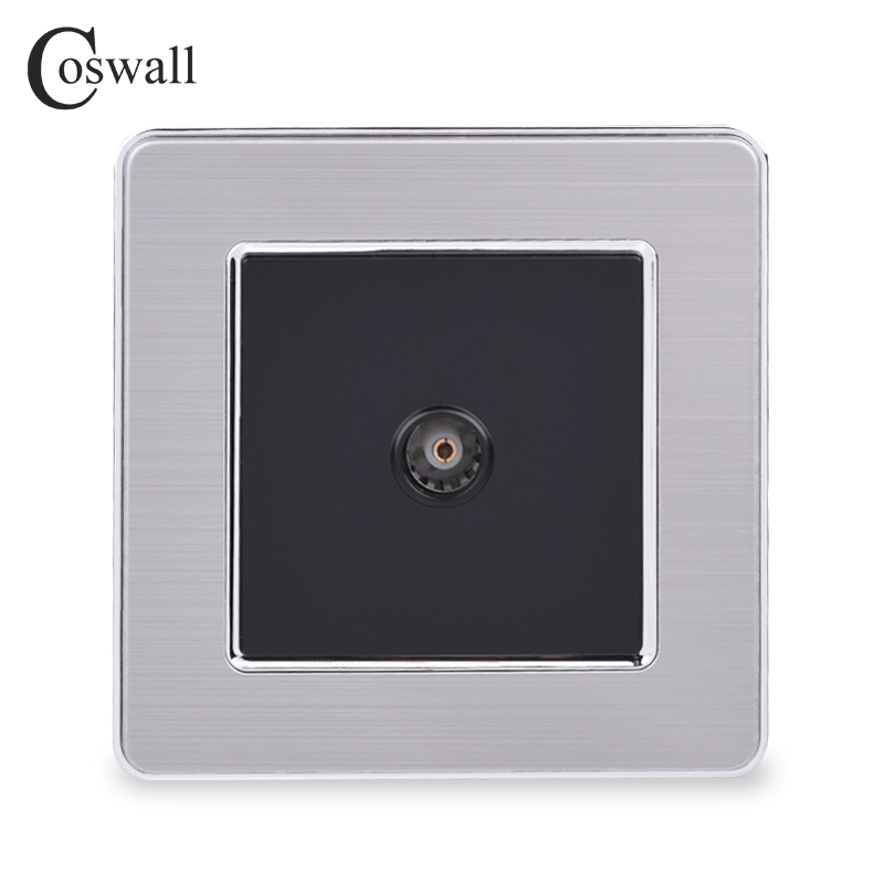 COSWALL 1 Gang Female TV Connector Luxury Wall Socket Outlet Stainless Steel Brushed Silver Frame Panel