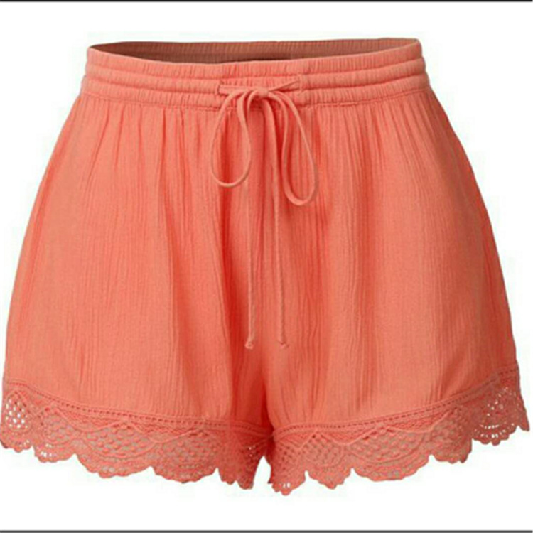 2020 Summer Explosion Models Solid Color Lace Lace Shorts Casual  Women