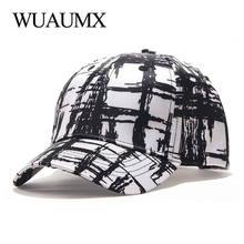 Wuaumx брендовая черно белая клетчатая бейсболка Мужская модная