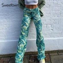 Sweetown – pantalon de survêtement Paisley pour femmes, Streetwear, Baggy, taille haute, imprimé, teinture par nouage, mode coréenne, Y2K