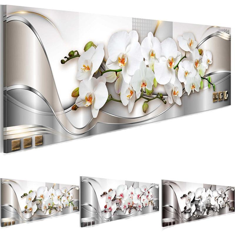 Orquídeas brancas flores posters e cópias floral arte da parede moderna pintura da lona fotos para sala de estar quarto decoração casa