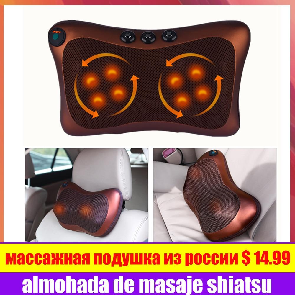 Massage Pillow Shiatsu Massager Neck Shoulder Back Body Electric Massage Pillow Vibrating Cervical Therapy Massageador For Car