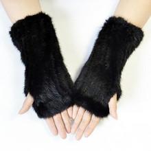 20cm rękawiczki z dzianiny damskie futra norek rękawiczki bez palców zimowe grube ciepłe długie rękawiczki Feamel 100 prawdziwe futro z norek rękawiczki tanie tanio DANCING WINGS Dla dorosłych WOMEN Stałe Opera Moda CJ-65
