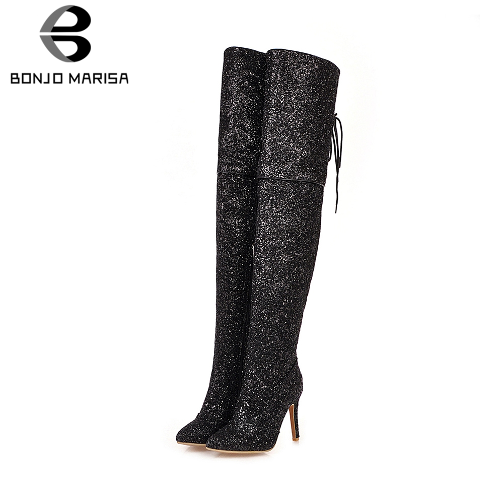 BONJOMARISA New Plus Size 33-48 Sexy Shining Party Evening Thigh High Boots Women Heels Over The Knee Shoes Woman