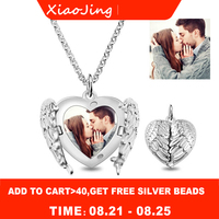 XiaoJing personalized 925 sterling silver angel wing heart pendant necklace name custom photo jewelry for anniversary gift
