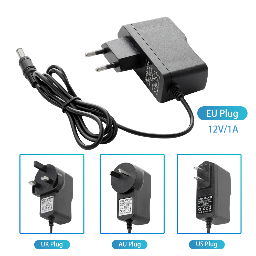 Power Adapter AC100V-240V / DC12V 1A Output Power Adaptor 50/60HZ Wall Charger DC 5.5mm X 2.1mm EU/AU/UK/US Plug For CCTV Camera