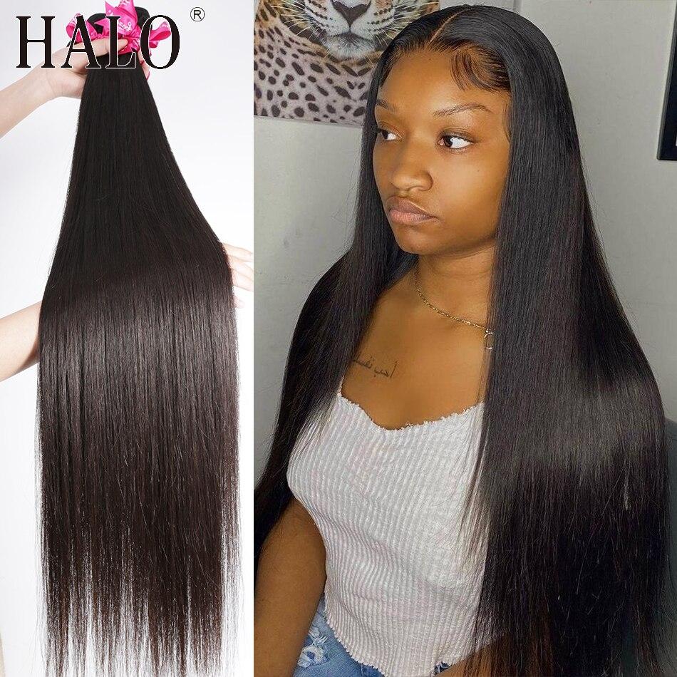 Прямые бразильские человеческие волосы для наращивания волос, прямые человеческие волосы длиной 28, 30, 32, 40 дюймов, 1, 3, 4 пучка, натуральные не...