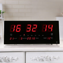 Extra Big Screen LED Office Wall Clock 24H Calendar -Time - Days - Week - Year Temperature Meter Projection Clocks US