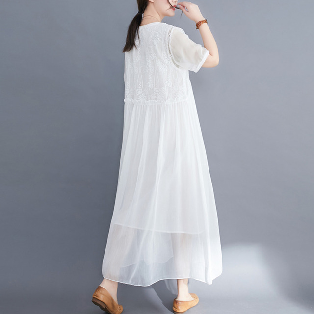 #0352 Plus Size Dress For Women Summer 2021 Elegant Embroidery Floral Loose A-line Pleated Midi Dresses Ladies Short Sleeves  6
