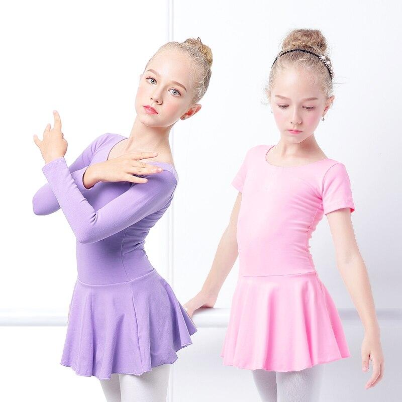 Fete Bowknot Rochie de balet Leotards Copii Gimnastică Rochie minunat bumbac roz Bumbac gimnastic Leotards